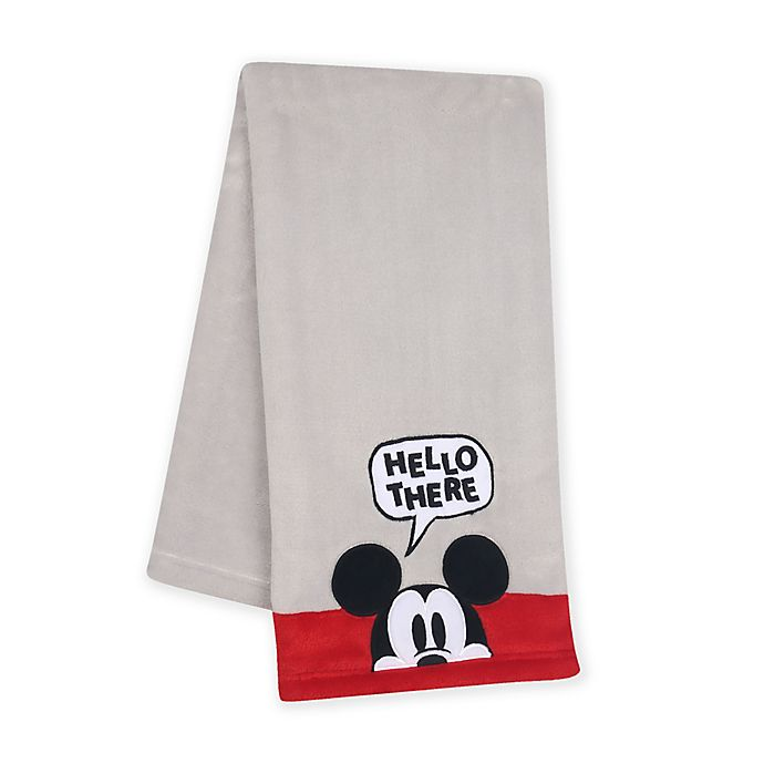 Alternate image 1 for Lambs & Ivy® Magical Mickey Mouse Baby Blanket in Grey/Red
