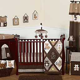 Sweet Jojo Designs Teddy Bear Crib Bedding Collection in Chocolate