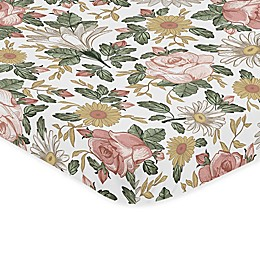 Sweet Jojo Designs Vintage Floral Microfiber Mini Crib Sheet in Pink/Green