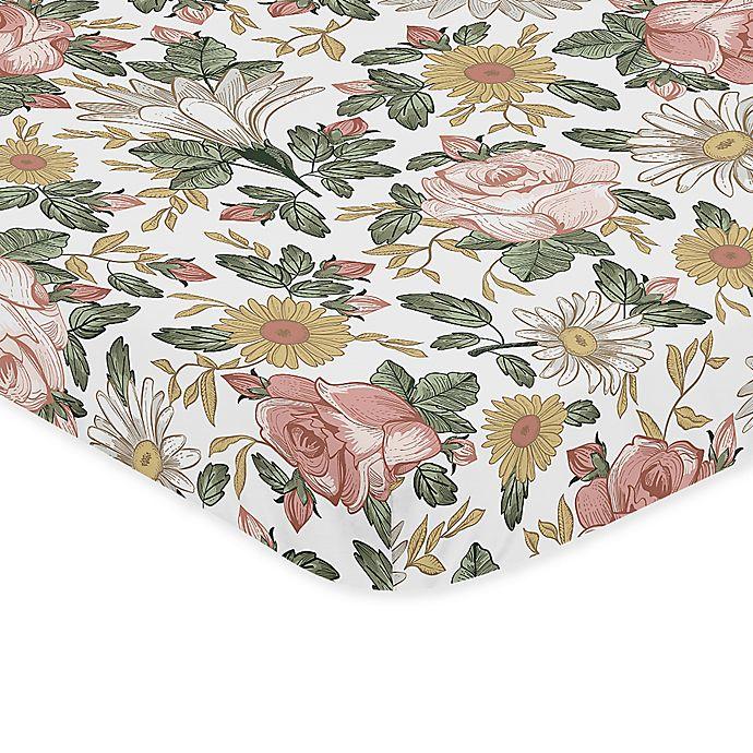 Alternate image 1 for Sweet Jojo Designs Vintage Floral Microfiber Mini Crib Sheet in Pink/Green