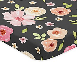 Sweet Jojo Designs Watercolor Floral Microfiber Mini Crib Sheet in Black/Pink