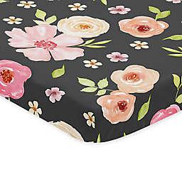 Sweet Jojo Designs Watercolor Floral Microfiber Mini Crib Sheet in Black/Pink