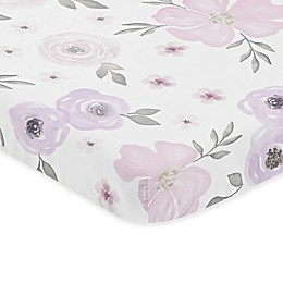 Sweet Jojo Designs Watercolor Floral Microfiber Mini Crib Sheet in Lavender/Grey