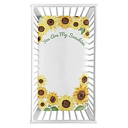 Sweet Jojo Designs Watercolor Sunflower Microfiber Crib Sheet in Yellow/Green