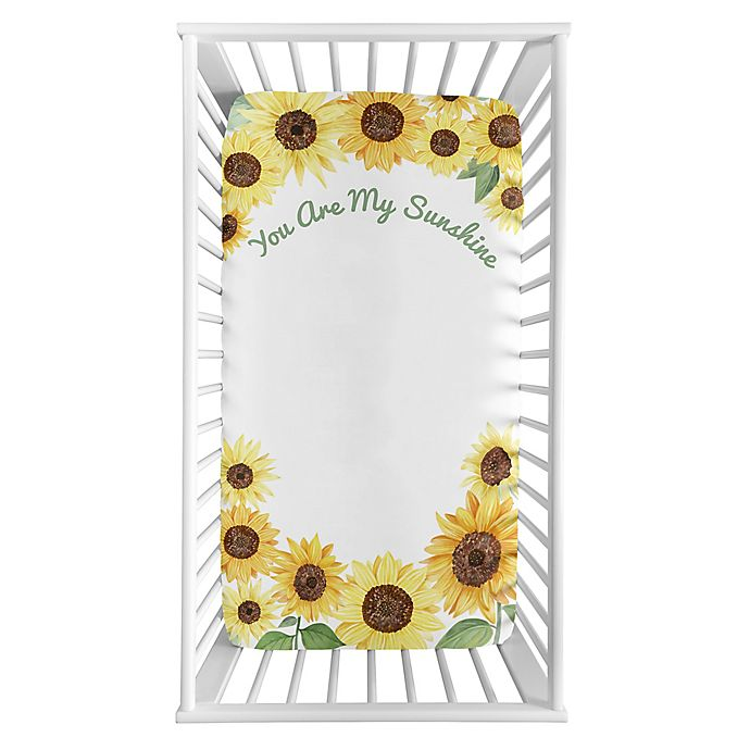 Alternate image 1 for Sweet Jojo Designs Watercolor Sunflower Microfiber Crib Sheet in Yellow/Green