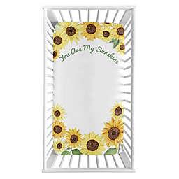 Sweet Jojo Designs Watercolor Sunflower Microfiber Crib Sheet in Yellow/Green