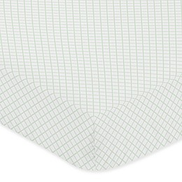 Sweet Jojo Designs Lattice Microfiber Crib Sheet in White/Mint