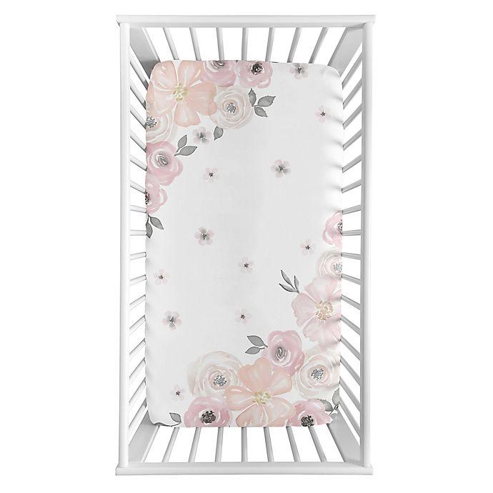 Alternate image 1 for Sweet Jojo Designs Watercolor Floral Corner Floral Crib Sheet in Pink/Grey