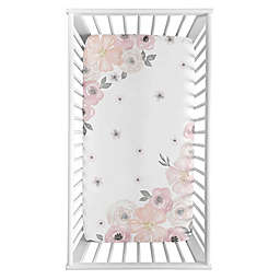 Sweet Jojo Designs Watercolor Floral Corner Floral Crib Sheet in Pink/Grey
