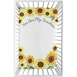 Sweet Jojo Designs Sunflower Microfiber Mini Crib Sheet in Yellow/Green