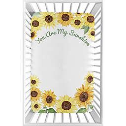 Sweet Jojo Designs Sunflower Microfiber Mini Crib Sheet in Yellow/Green
