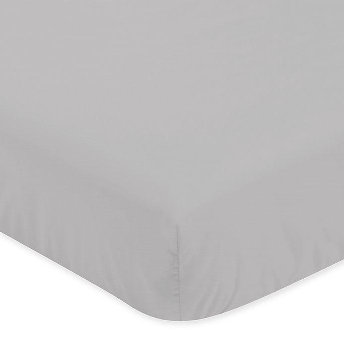 Alternate image 1 for Sweet Jojo Designs Microfiber Crib Sheet in Grey