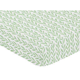 Sweet Jojo Designs Leaf Fitted Crib Sheet in Green/White