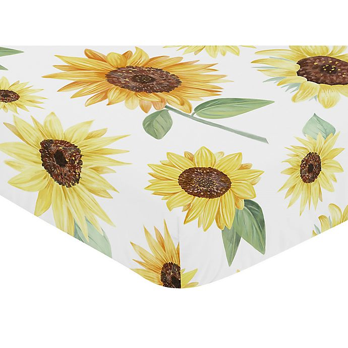 Alternate image 1 for Sweet Jojo Designs Watercolor Sunflower Fitted Crib Sheet in Yellow/Green