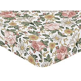 Sweet Jojo Designs Vintage Floral Fitted Crib Sheet in Pink/Green