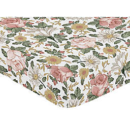 Sweet Jojo Designs Vintage Floral Fitted Crib Sheet in Pink/Green