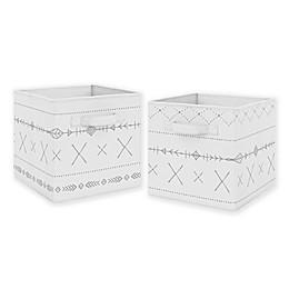 Sweet Jojo Designs Boho Print Storage Bins in Grey (Set of 2)