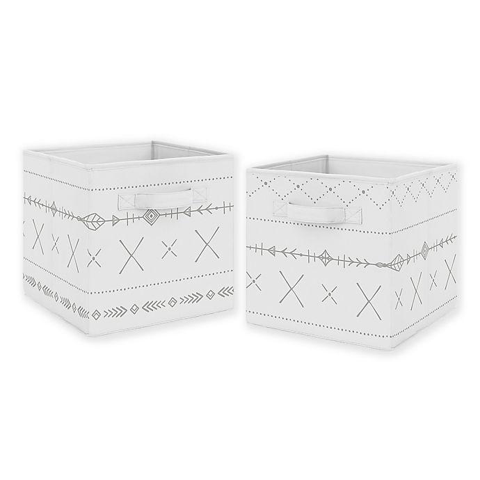 Alternate image 1 for Sweet Jojo Designs Boho Print Storage Bins in Grey (Set of 2)