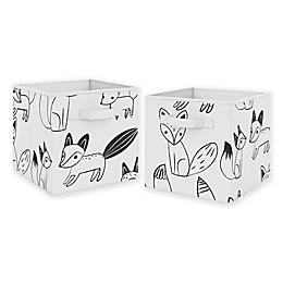 Sweet Jojo Designs Fox Fabric Storage Bins in Black/White (Set of 2)