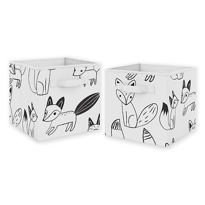 Alternate image 1 for Sweet Jojo Designs Fox Fabric Storage Bins in Black/White (Set of 2)