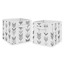 Sweet Jojo Designs Mod Arrow Fabric Storage Bins in Grey/White (Set of 2)
