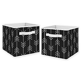 Sweet Jojo Designs Arrow Print Fabric Storage Bins in Black/White (Set of 2)