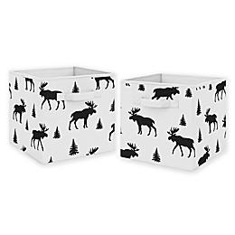 Sweet Jojo Designs Moose Print Fabric Storage Bins in Black/White (Set of 2)