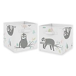 Sweet Jojo Designs Sloth Fabric Storage Bins in Blush/Grey (Set of 2)