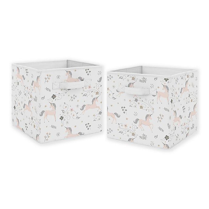 Alternate image 1 for Sweet Jojo Designs Unicorn Fabric Storage Bins