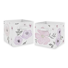 Sweet Jojo Designs Floral Fabric Storage Bins in Lavender/Grey (Set of 2)