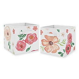Sweet Jojo Designs Peach Floral Storage Bins