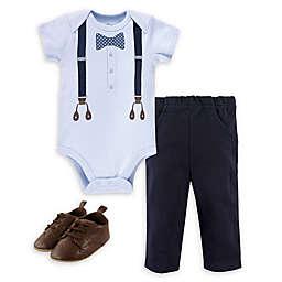 Little Treasure 3-Piece Bow Tie Bodysuit, Pant and Shoe Set