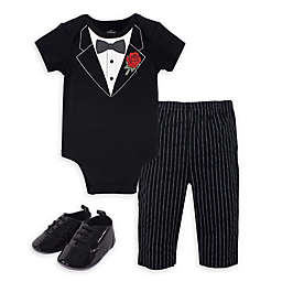 Little Treasure Size 9-12M 3-Piece Tuxedo Bodysuit, Pant and Shoe Set