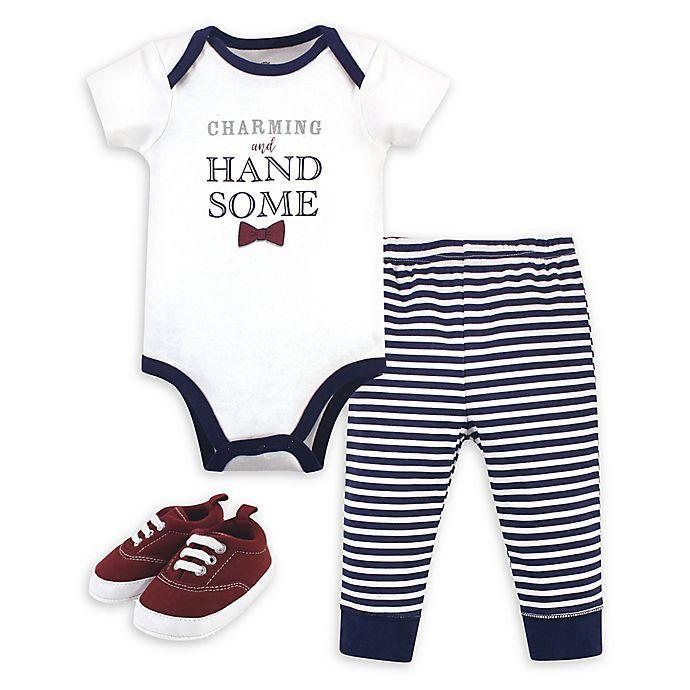 Alternate image 1 for Little Treasure 3-Piece Charming Bodysuit, Pant, and Shoe Set
