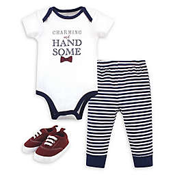 Little Treasure 3-Piece Charming Bodysuit, Pant, and Shoe Set