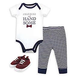 Little Treasure Size 9-12M 3-Piece Charming Bodysuit, Pant, and Shoe Set