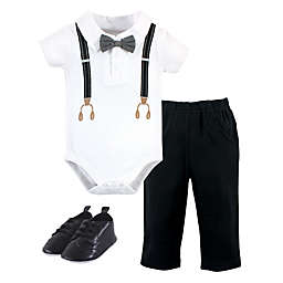 Little Treasure Size 9-12M 3-Piece Suspender Bodysuit, Pant and Shoe Set in Black