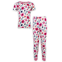 Touched by Nature Size 18-24M 2-Piece Floral Organic Cotton Short-Sleeve Pajama Set in Pink