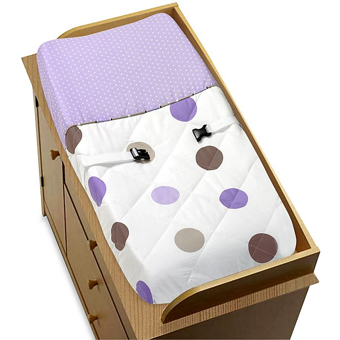 Alternate image 1 for Sweet Jojo Designs Mod Dots Chaging Pad Cover in Purple/Chocolate
