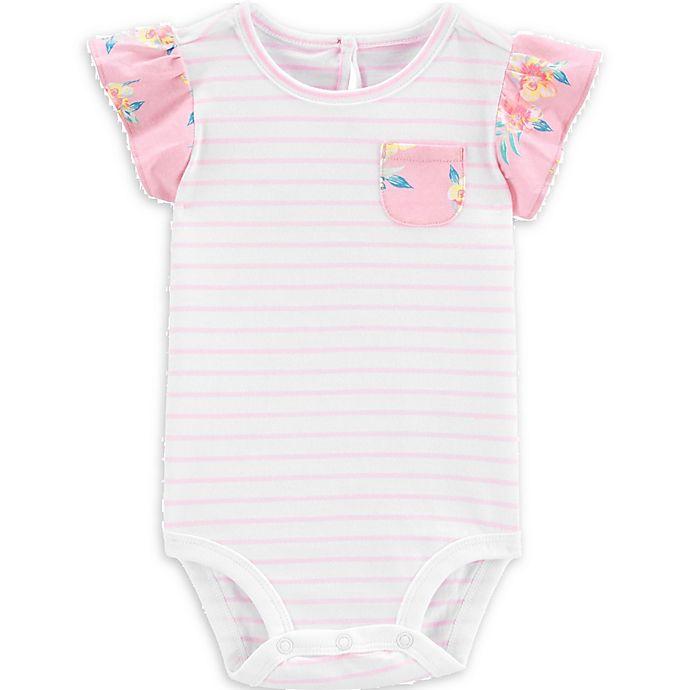 Alternate image 1 for OshKosh B'gosh® Striped Ruffle Sleeve Bodysuit in Pink