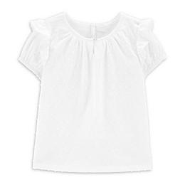 OshKosh B'gosh® Ruffle Sleeve Toddler Dobby Top in White
