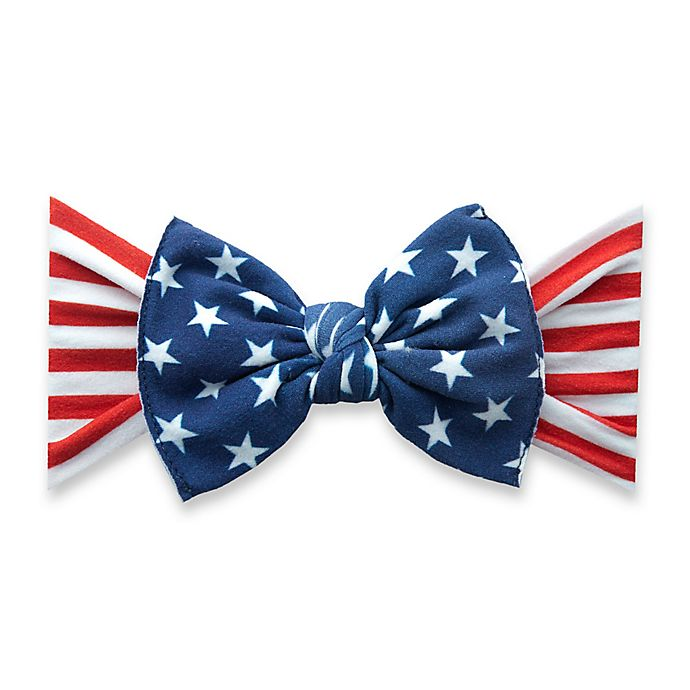 Alternate image 1 for Baby Bling® One Size Flag Bow Headband in Red/White/Blue