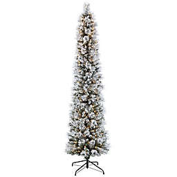 Puleo International Flocked Portland Artificial Christmas Tree with Clear Lights in Green