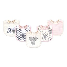 Touched by Nature 5-Pack Elephant Organic Cotton Bibs in White/Pink