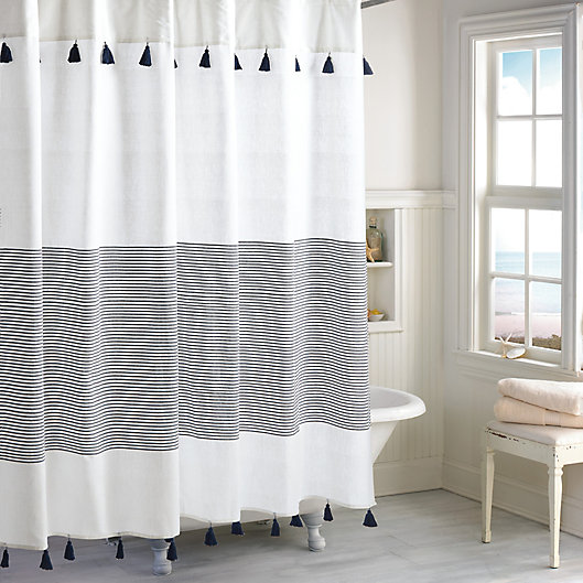 Alternate image 1 for Peri Home Panama Stripe Shower Curtain in White/Navy
