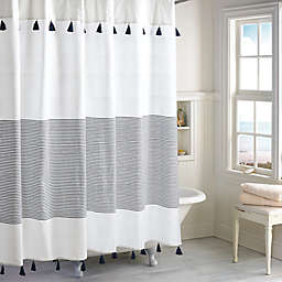 Peri Home Panama Stripe Shower Curtain in White/Navy
