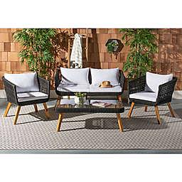 Safavieh Denridge 4-Piece Outdoor Furniture Set in Black/White