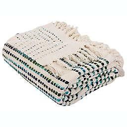 SAFAVIEH LANDRA FRINGE 60X72 THROW in BLUE/WHITE