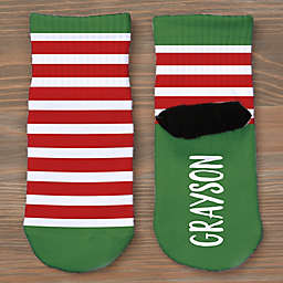 Striped Holiday Personalized Toddler Socks