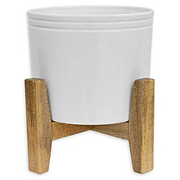 Muir Glossy White Planter with Mango Wood Stand